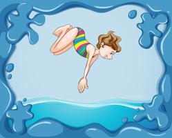 Frame design with girl diving in water