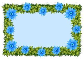 Plantilla de marco con flores azules