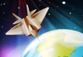 Astronave che vola nello spazio buio