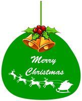 Diseño de tarjeta navideña con campana y santa.