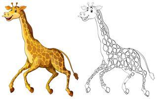 Griffonnage animal de dessin pour girafe en cours d'exécution