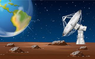 Space technology with satellite dish and earth vector