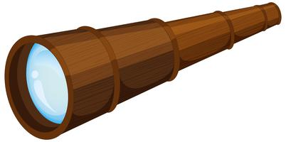 Wooden telescope on white background