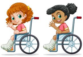 Set of girls on wheelchair