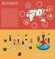 Business infographic with people and graphs
