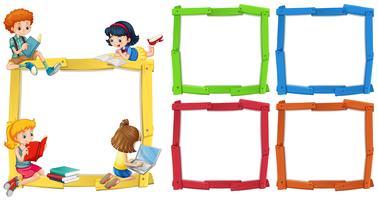 Modello di cornice con bambini felici che leggono libri