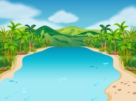 Scène met rivier en heuvels