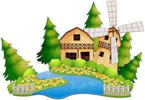 Escena de la granja con granero junto al río