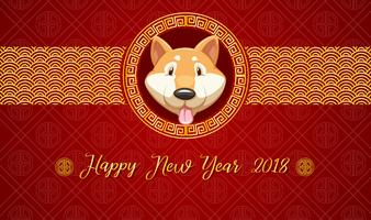 Happy new year card template with dog on red background vector