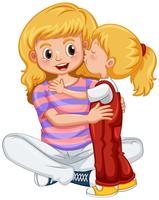 Little girl kissing mother vector
