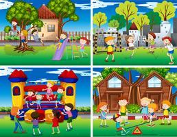Vier Szenen von Kindern, die im Park spielen