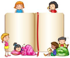 Empty book and children sleeping