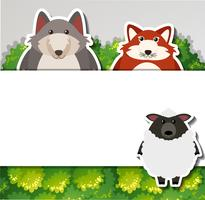 Banner template with fox and sheep