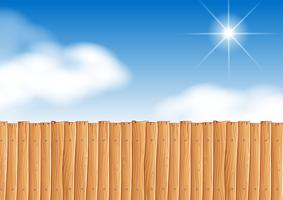 Scene with wooden fence at daytime vector