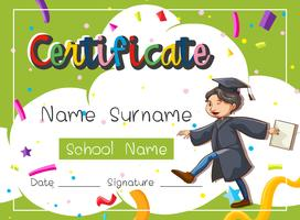 Certificate template with man in graduation gown