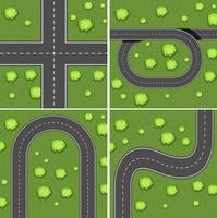 Scènes met wegen op het grasland
