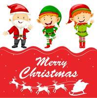 Plantilla de tarjeta de Navidad con santa y elfo