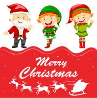 Kerstkaartsjabloon met kerstman en elf