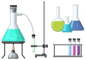Science beakers with burner