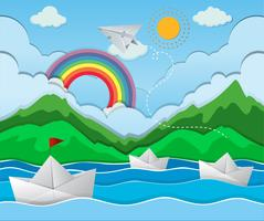 Flussszene mit Papierbootsschwimmen