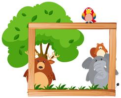Border template with wild animals and tree