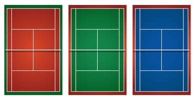 Three different tennis courts