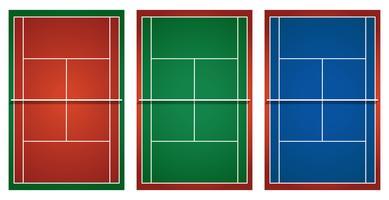 Três campos de ténis diferentes