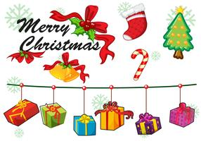 Christmas card template ornaments and gifts