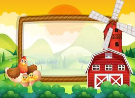 Frame template with chickens in the farm vector