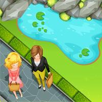 Mujer de pie junto al estanque
