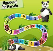 Bordspel sjabloon met twee panda's in park