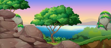 Cena da natureza com lago e rochas