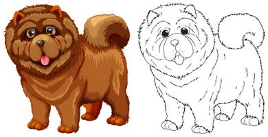 Animal outline for fluffy dog vector