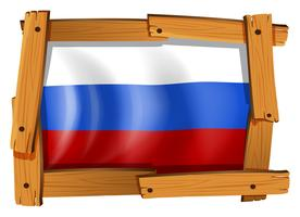 Russia flag in wooden frame
