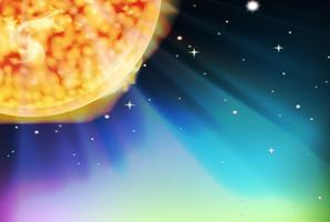Bakgrundsscen med solen i rymden