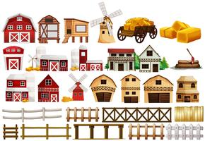 Different design of barns and fences vector