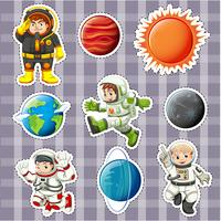 Sticker design with astronaunts and planets