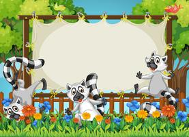 Lemurs and wooden frame template