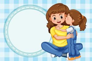 Plantilla de frontera con niña besos madre