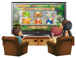 Kids playing game with big screen TV