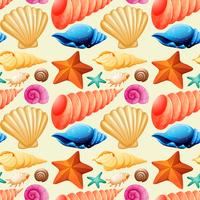 Seamless background with seashells and starfish