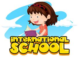 International school sign with girl reading book