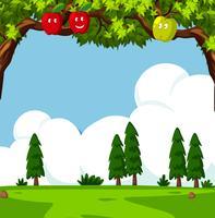 Cena com macieiras e campo verde