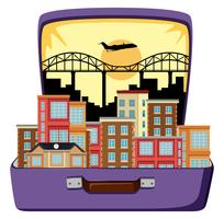 Urban city on suitcase