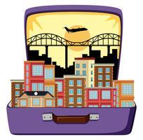 Stedelijke stad op koffer