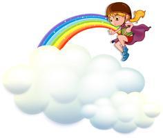 Fille jouant le héros sur les nuages
