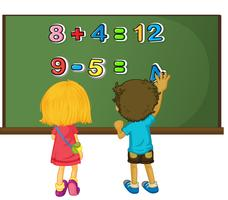 Two kids solving math problem on board