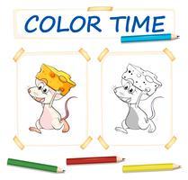 Modèle de coloration avec souris et fromage