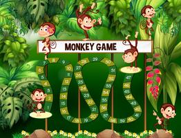 Plantilla de juego con monos en la selva.