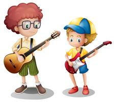 Two boys playing guitar